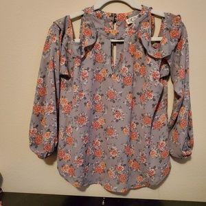 Pink Rose floral cold shoulder blouse